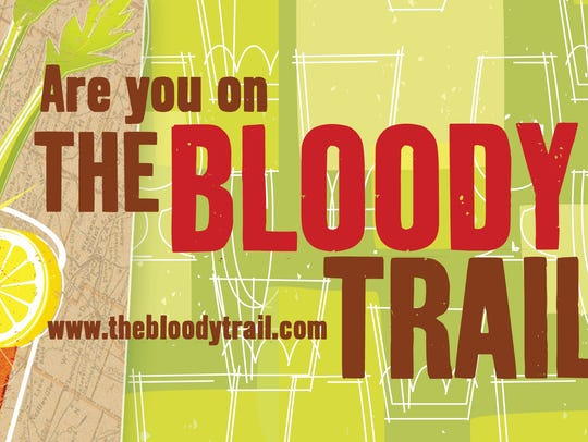 """Are you on the Bloody Trail?"" bumper sticker."