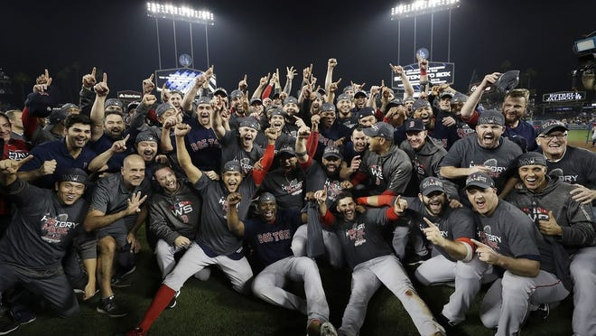 Red Sox savor their World Series championship two years ago in Los Angeles.