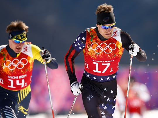 Simi Hamilton (USA, 17-1) ahead of Nikolay Chebotko (KAZ, 14-1) in the semifinal of the men's team sprint classic during the Sochi 2014 Olympic Winter Games at Laura Cross-Country Ski and Biathlon Center. Mandatory Credit: Rob Schumacher-USA TODAY Sports
