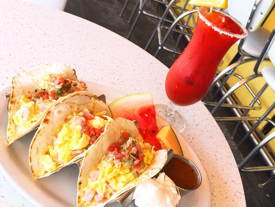 A trio of breakfast tacos at Morning Squeeze in Scottsdale.