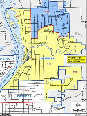 Wausau's District 6, outlined here in blue, occupies the north eastern corner of the city.