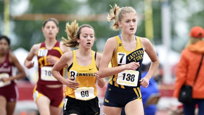 Eastern York's Maddie McLain competes in the Class 2A 3200-meter run in the PIAA track and field meet Saturday, May 27, 2017, at Shippensburg University.