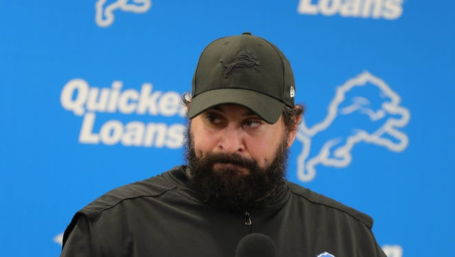 Detroit Lions head coach Matt Patricia took questions from reporters about a dismissed sex assault case Thursday, May 10, 2018, at the practice facility in Allen Park, Mich.