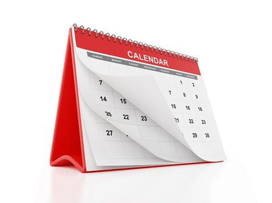 Monthly Calendar on White with Clipping Path