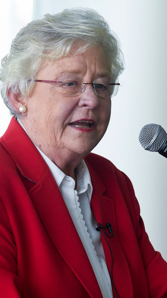 Alabama Governor Kay Ivey speaks at the change of command