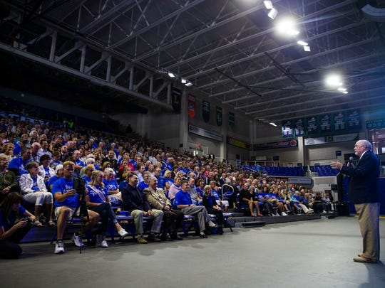 FGCU President Mike Martin speaks to the audience before introducing speaker Dan Buettner at FGCU's Alico Arena in Fort Myers on Monday, April 16, 2018.