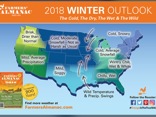 This map, published for the 2017-18 edition of the Farmers' Almanac, predicts a cold and snowy winter for the Northeast.