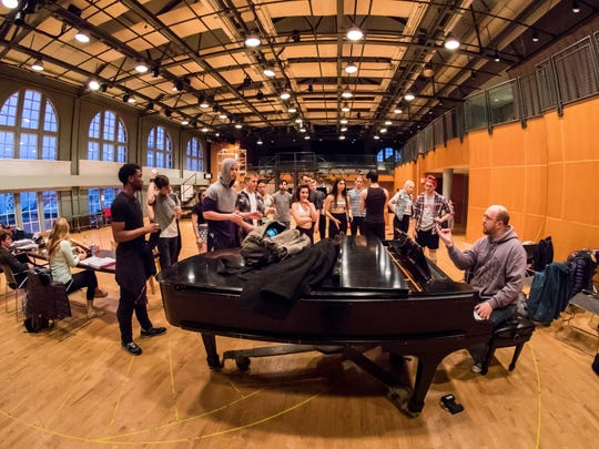 """Music director Steve Goers leads a rehearsal in the College-Conservatory of Music's Dieterle Vocal Arts Center for the school's March 2016 production of """"American Idiot."""""""