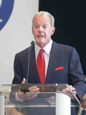 Indianapolis Colts owner Jim Irsay speaks Tuesday, Sept. 13, 2016, during the announcement of a multimillion-dollar donation to the CityWay YMCA, which will be renamed the Irsay Family YMCA.