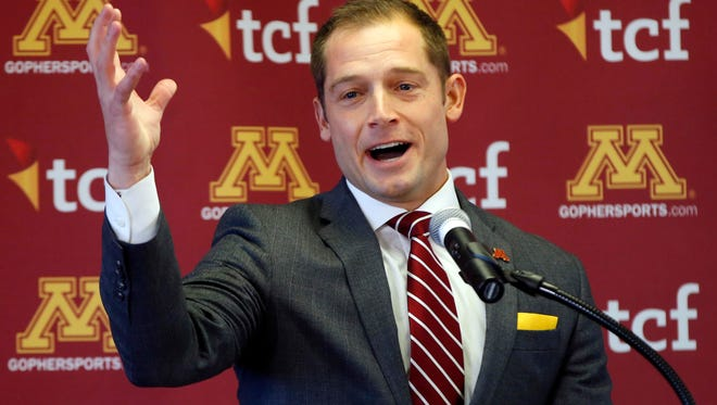 New University of Minnesota head football coach P.J. Fleck addresses the media after he was introduced during a news conference Friday, Jan. 6, 2017, in Minneapolis.