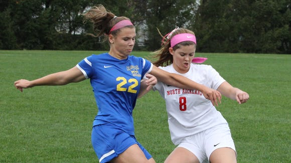 Mahopac's Carly Steinberg, left, fights for the ball