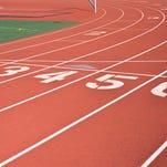 Starting line on red running track