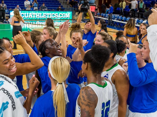 Especially with sophomore forward Tytionia Adderly (far left) developing a solid jumper, FGCU will be huge favorites for yet more ASUN titles this upcoming season.