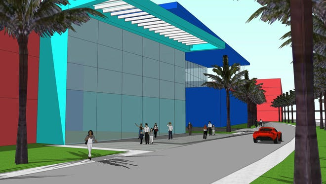 A rendering shows what the proposed arena and field house would look like at the site of the current Pensacola Bay Center.