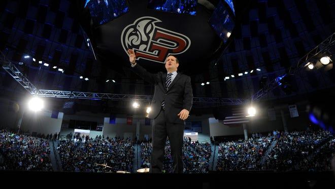 Sen. Ted Cruz, R-Texas, launches his presidential bid at Liberty University in Lynchburg, Va., on March 23, 2015.