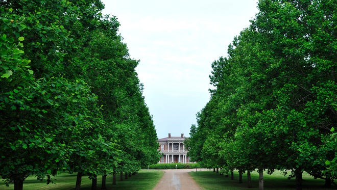 At the center of Two Rivers Mansion's tree-lined driveway is a garden ranked near the top of restoration priorities.