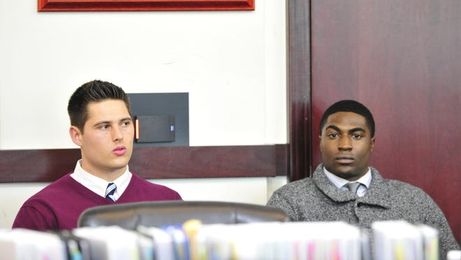 Former Vanderbilt University football players Brandon Vandenburg, left, and Cory Batey were convicted in January of raping an unconscious female student.