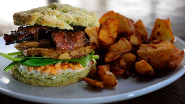 The Fried Green Biscuit Sandwich from The Family Wash