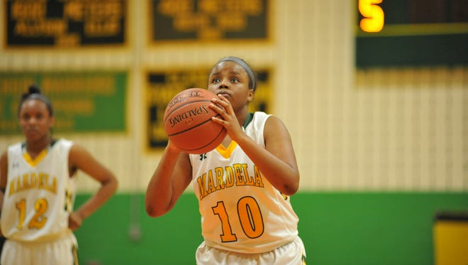 Mardela High School's Armani Banks' at the free throw line during the 1A East Playoff's against Washington High School Monday, March 1. in Mardela Springs, Md.