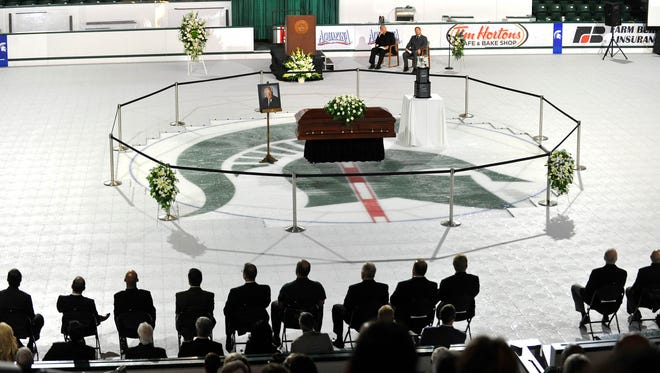 Ron Mason's casket was at center ice at Munn Arena on Thursday.