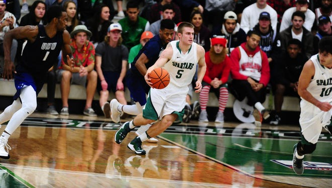 Jared Wagner brings the ball upcourt during a Dec. 3 home game against Mary Washington. Wagner has been the primary backup point guard for York College this season.