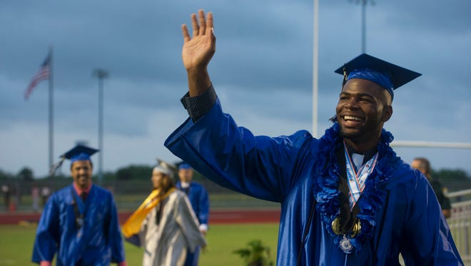 """Jarez Parks, of Fellsmere, was one of about 450 graduates honored Friday during the 2017 commencement ceremony at Sebastian River High School. """"This is an amazing class of students,"""" Principal Todd Racine said. """"They're dedicated to academics and are phenomenal in their extracurricular activities. They're one (class) that made our school very, very proud this year."""""""