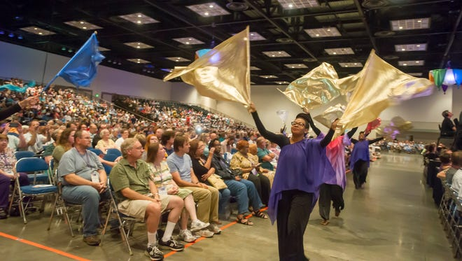 The Christian Church (Disciples of Christ) held a worship sevice on Saturday, July 8, 2017, at the Indiana Convention Center during its biennial convention in Indianapolis.