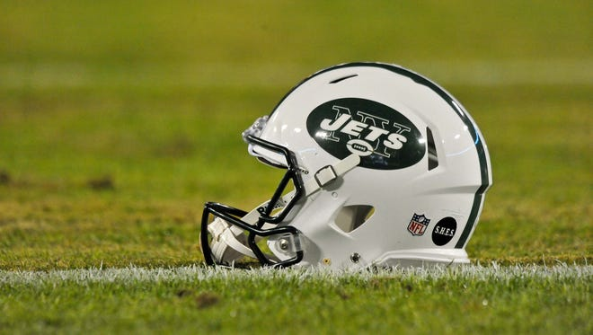 A New York Jets helmet is shown before a game.