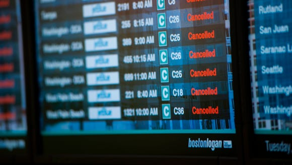 This file photo from March 14, 2017, shows many cancellations