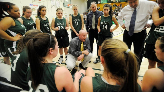 Aurie Thibault, seen coaching in the 2009 Division I semifinals at Patrick Gym, has been rehired by Rice High School to coach the girls basketball program after a nine-year hiatus. Thibault replaces Tim Rice, who retired last month.