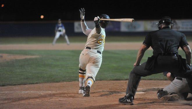 Juan De La Cruz swings at a pitch against the Richmond Jazz.