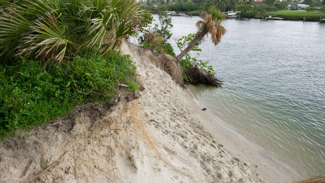 Erosion is a major problem for the Jupiter Inlet Lighthouse Outstanding Natural Area and is reportedly caused not only by natural events like hurricanes, but by boat wakes and people climbing the dunes