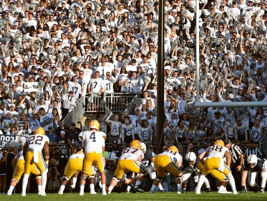 The Penn State student section looms over the Pittsburgh