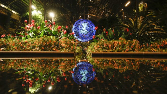 """A large """"organic sculpture"""" is hit with projected light and reflects in one of the pools of the East Conservatory during """"Nightscape - A Light and Sound Experience"""" at Longwood Gardens."""