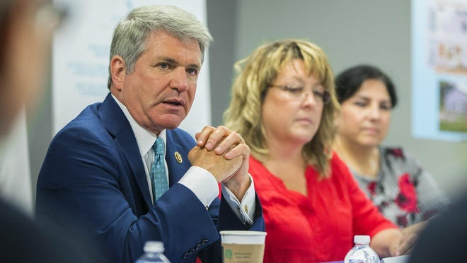 U.S. Rep. Michael McCaul, R-Austin, shown at an August 2019 meeting, said this week an Austin company is making progress toward a COVID-19 treatment.