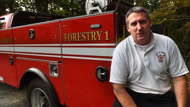 Dover Fire Chief Paul Haas talks about the dry conditions and how they lend themselves to more high brush and grass fire danger in the Seacoast area. The Forestry 1 vehicle is often used to fight those types of fires.