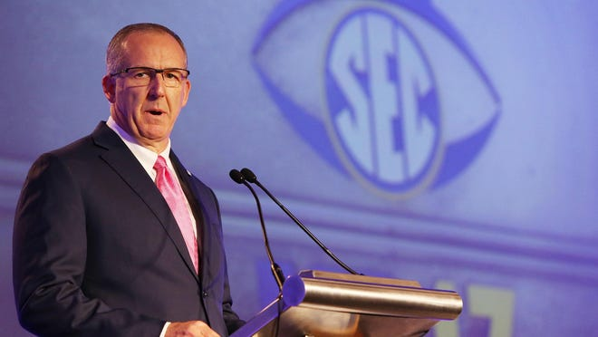 SEC Commissioner Greg Sankey opens up the first day of SEC Football Media Days at the Hyatt Regency Wynfrey Hotel in Hoover, Alabama, on July 10, 2017.