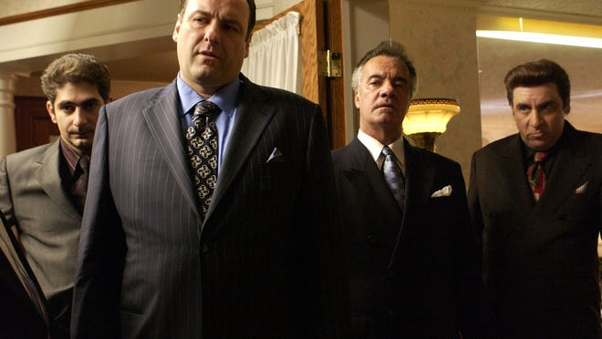 """ABBOT GENSER,  HBO, via AP ** ADVANCE FOR WEDNESDAY, MARCH 10 ** The cast of HBO's """"The Sopranos"""" poses in this undated publicity photo. From left: Michael Imperioli, James Gandolfini, Tony Sirico, and Steven Van Zandt. (AP Photo/HBO, Abbot Genser) ORG XMIT: NYET338"""