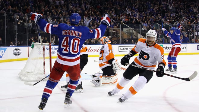 Michael Grabner scored one of the Rangers' goals that came directly off a Flyers miscue.