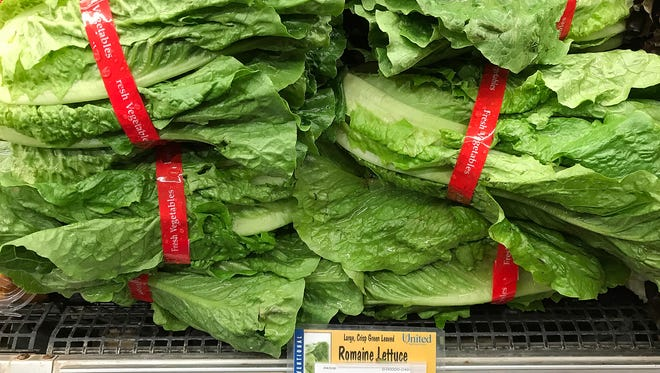 Romaine lettuce is displayed on a shelf at a supermarket on April 23, 2018, in San Rafael, Calif.