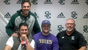 Shasta College football player Drew Faircloth, center,