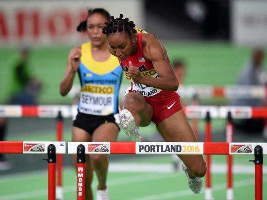 Mar 18, 2016; Portland, OR, USA; Brianna Rollins (USA) wins womens 60m hurdles semifinal in 7.82 during the 2016 IAAF World Championships in Athletics at the Oregon Convention Center. Mandatory Credit: Kirby Lee-USA TODAY Sports