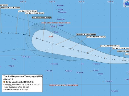 Tropical Depression 28W forecast tracking graphic issued at 1 a.m. Saturday, Nov. 12.