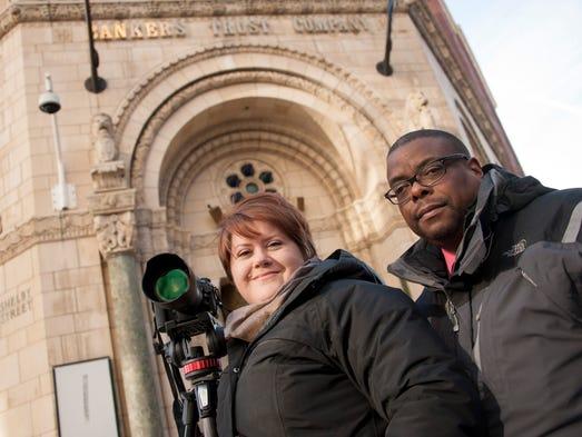 Filmmakers Jennifer Baross and Jack Johnson in front