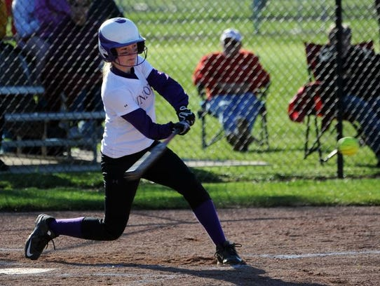 Unioto's Jayla Campbell hits against Chillicothe at