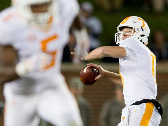 Tennessee quarterback Will McBride (17) lines up a