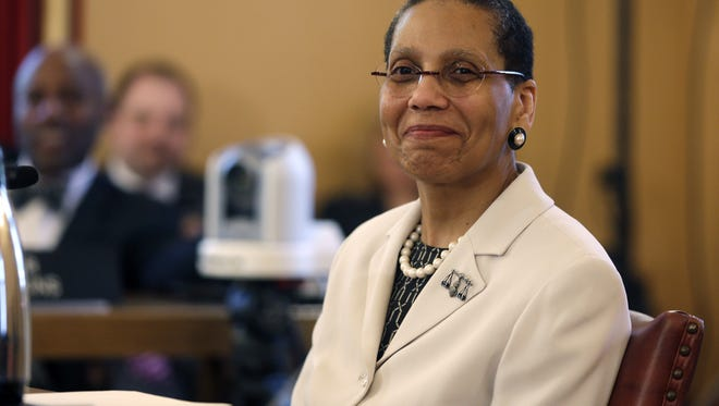 In this April 30, 2013, file photo, Justice Sheila Abdus-Salaam looks on as members of the state Senate Judiciary Committee vote unanimously to advance her nomination to fill a vacancy on the Court of Appeals at the Capitol in Albany, N.Y.