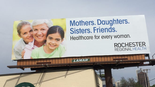 Rochester Regional Health has a new logo, as seen on this billboard above a building on Alexander Street. The sign can be seen from Interstate 490 heading into the city.