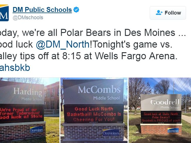 The Des Moines Public Schools' social media accounts showed support from around the school district as North High School plays its opening round state tournament boys' basketball game Wednesday night against Valley.