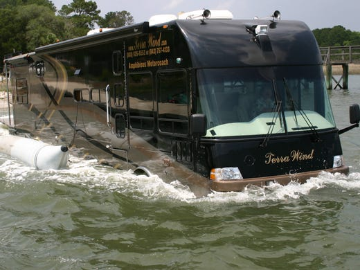 Motor homes can't usually drive right into a lake, but this
